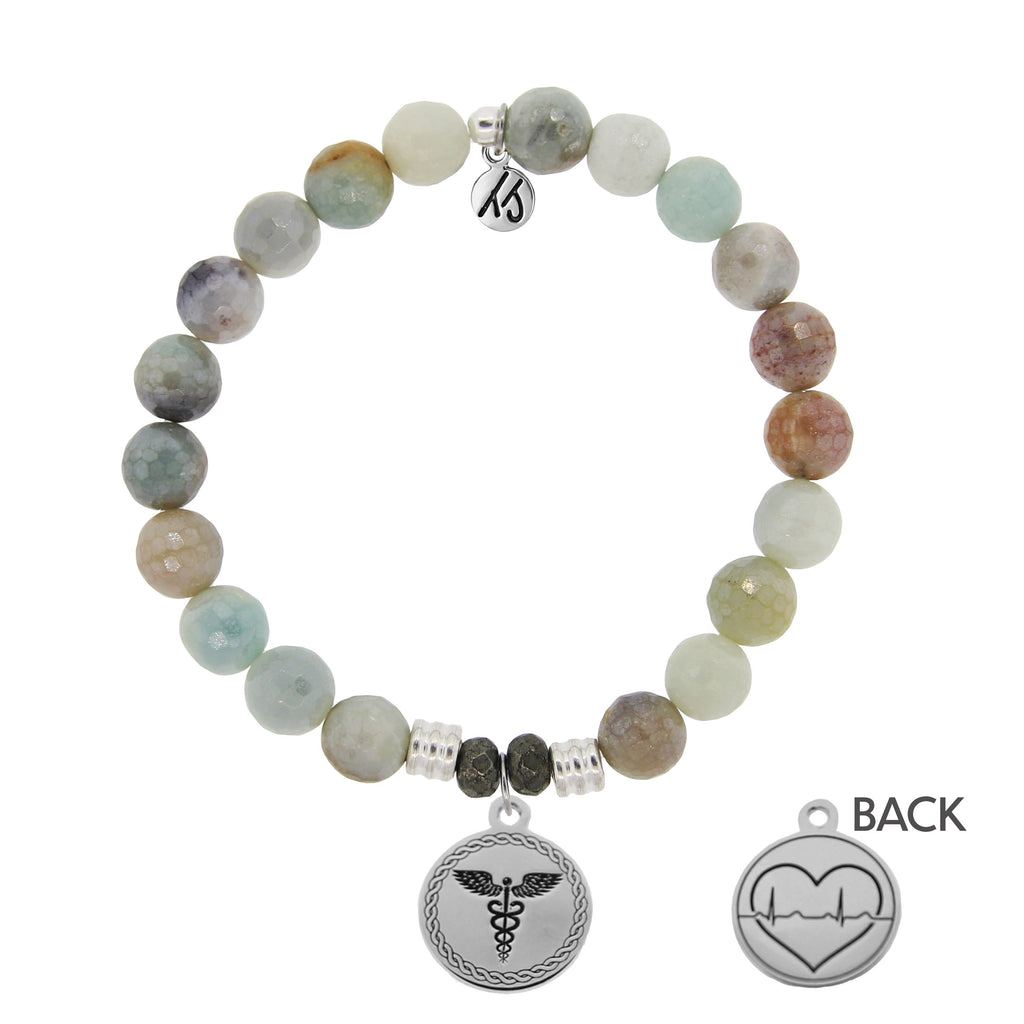 Amazonite Stone Bracelet with Caduceus Sterling Silver Charm