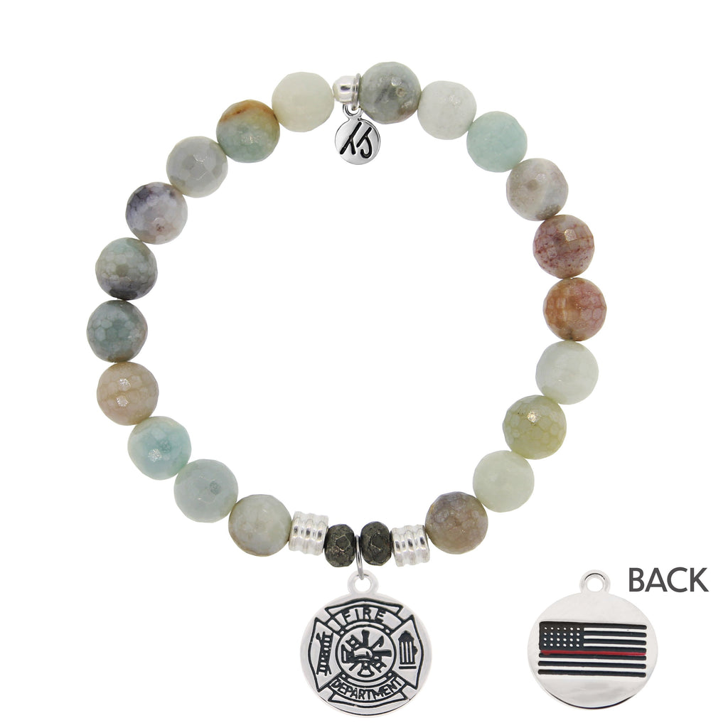 Amazonite Stone Bracelet with Firefighter Sterling Silver Charm