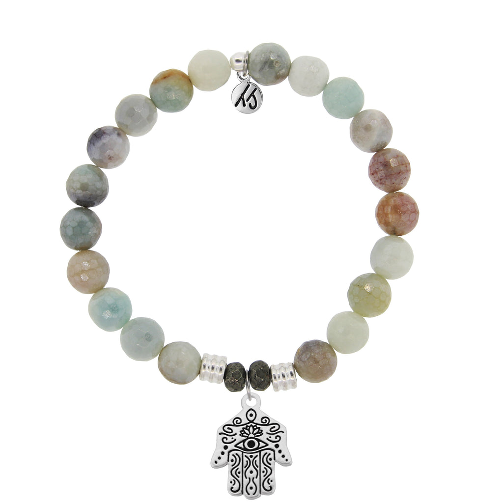 Amazonite Stone Bracelet with Hand of God Sterling Silver Charm