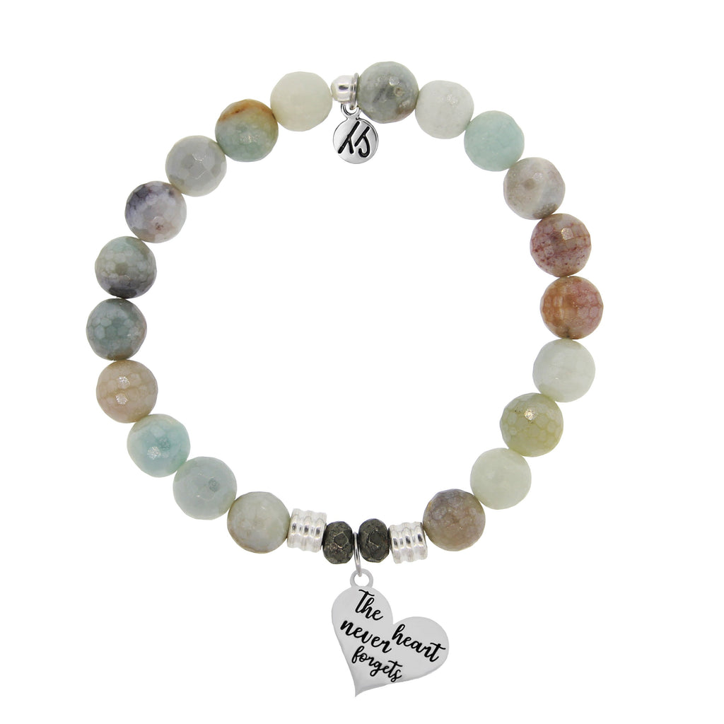 Amazonite Stone Bracelet with Heart Never Forgets Sterling Silver Charm