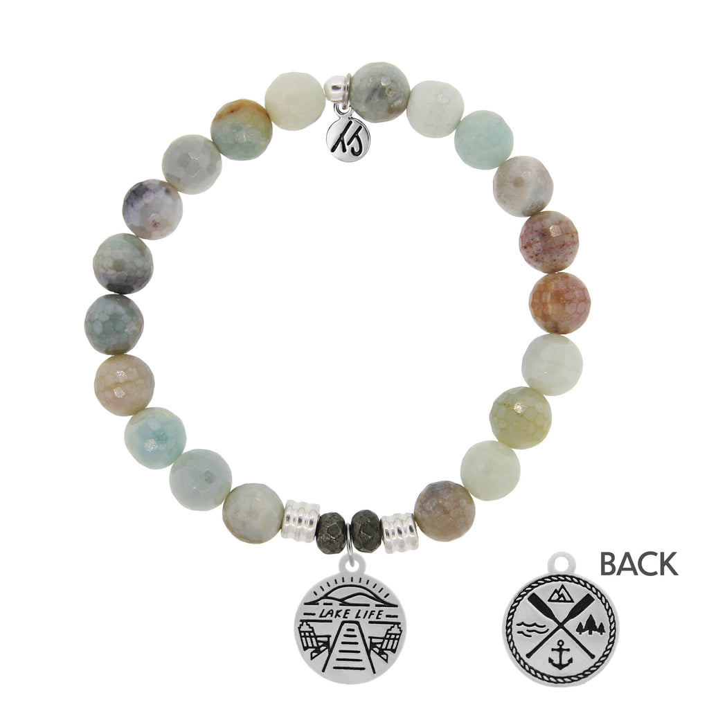Amazonite Stone Bracelet with Lake Life Sterling Silver Charm