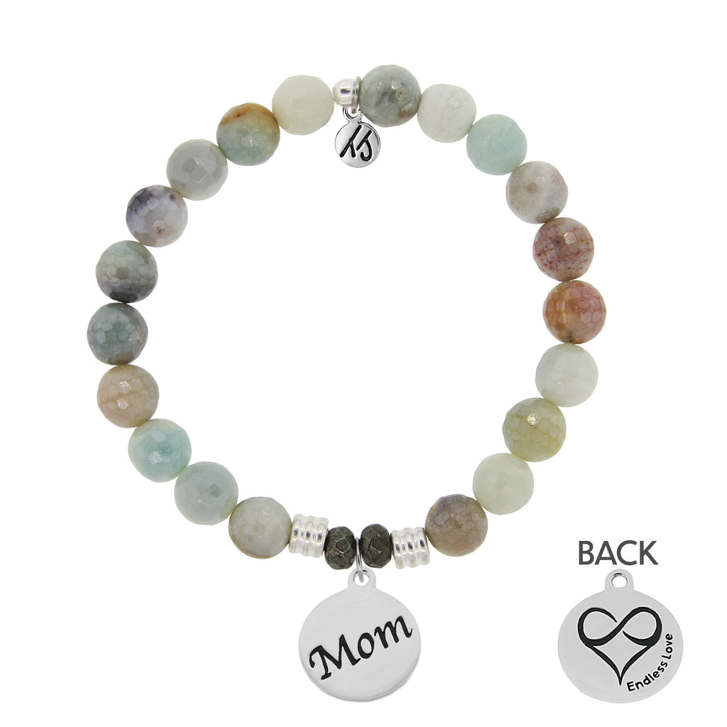 Amazonite Stone Bracelet with Mom Endless Love Sterling Silver Charm