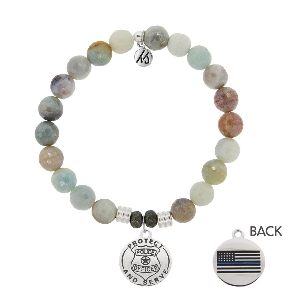 Amazonite Stone Bracelet with Police Sterling Silver Charm