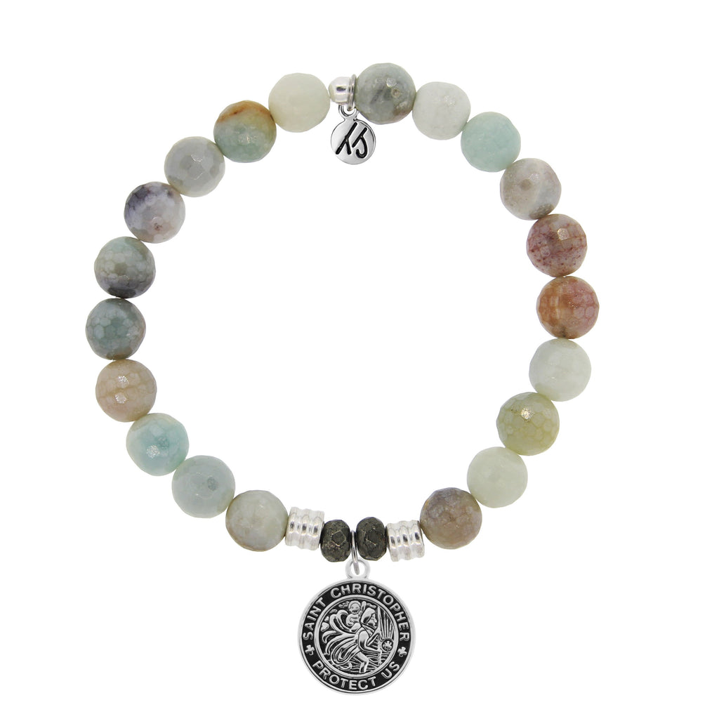 Amazonite Stone Bracelet with Saint Christopher Sterling Silver Charm