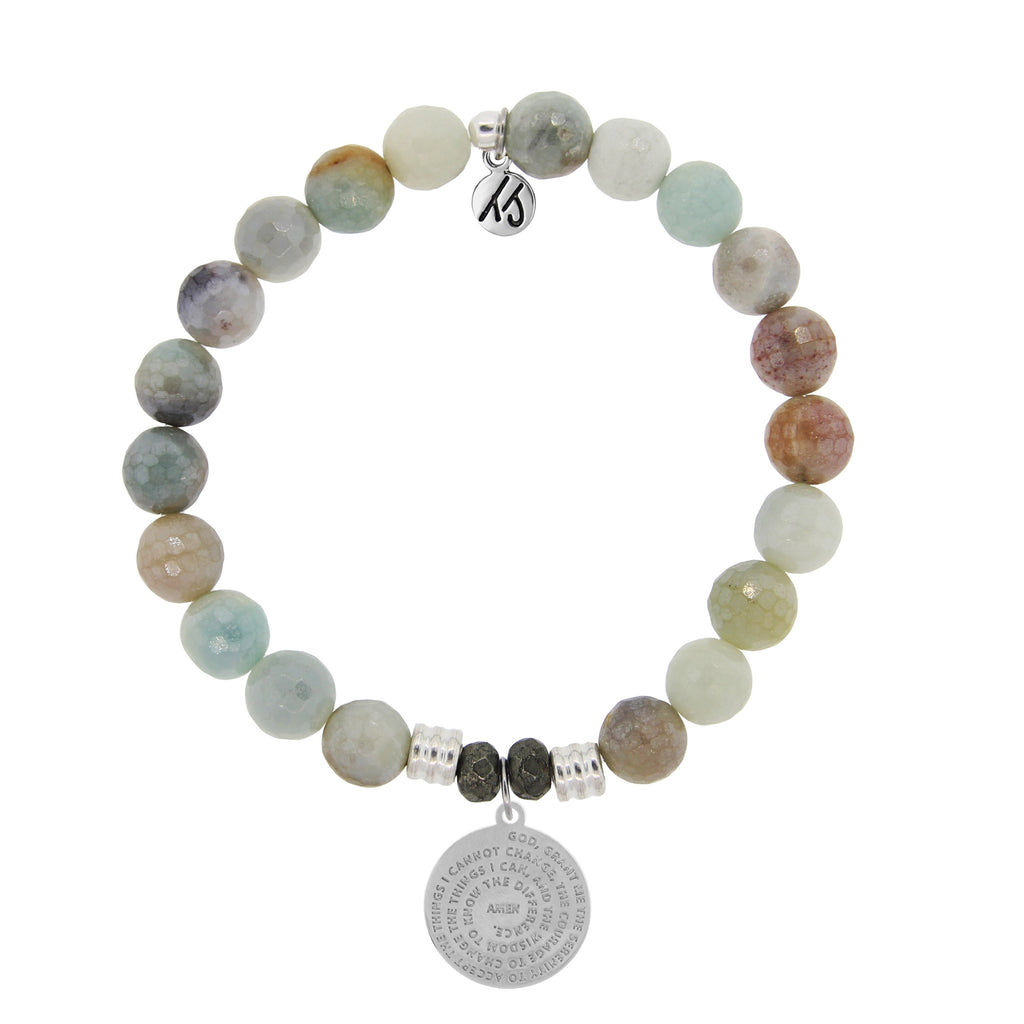 Amazonite Stone Bracelet with Serenity Prayer Sterling Silver Charm