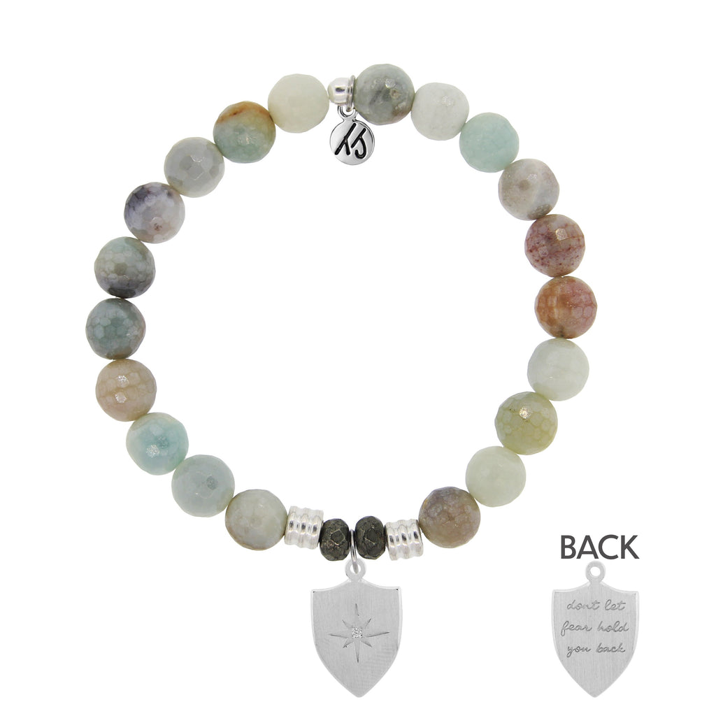 Amazonite Stone Bracelet with Shield of Strength Sterling Silver Charm