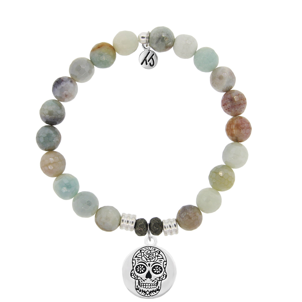 Amazonite Stone Bracelet with Sugar Skull Sterling Silver Charm