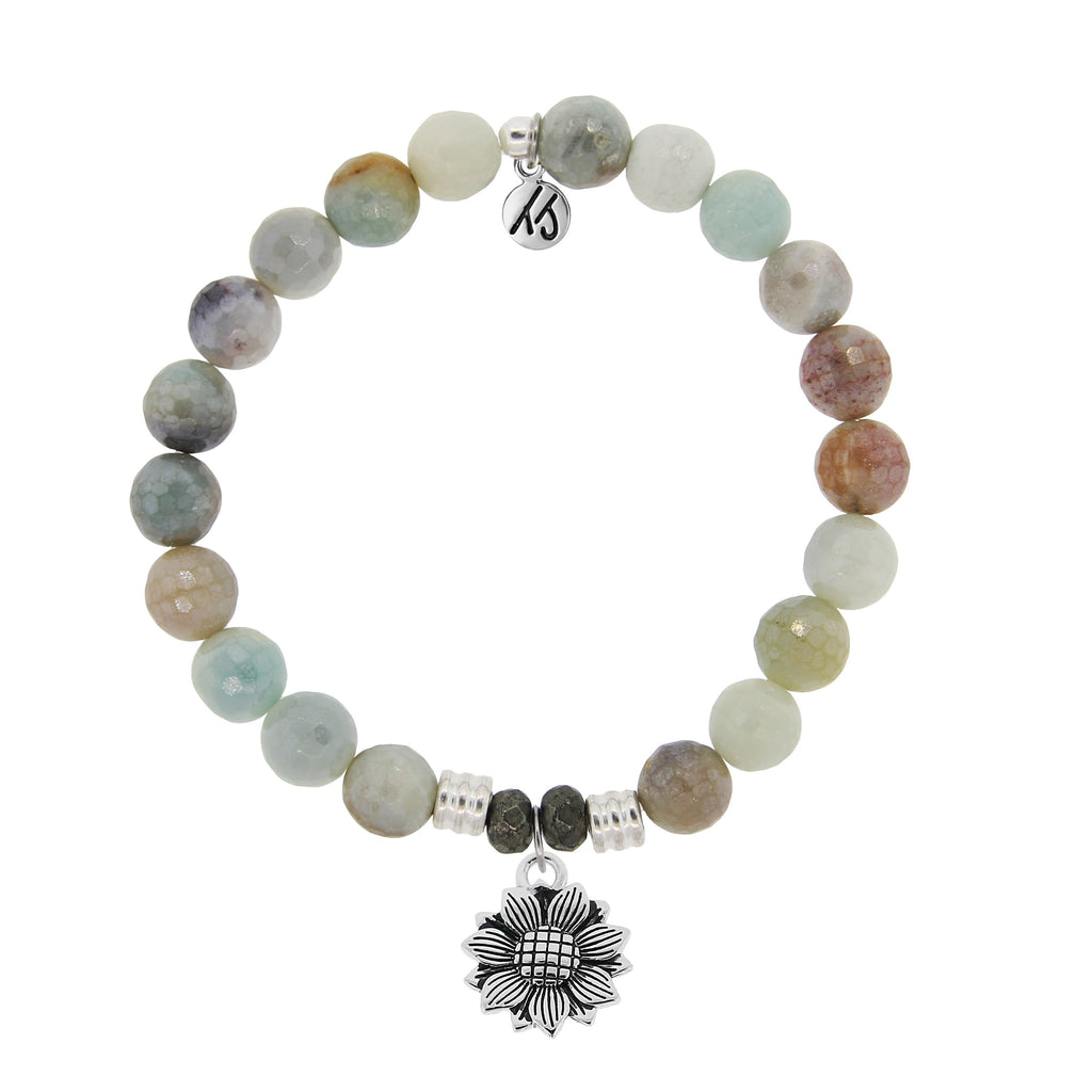 Amazonite Stone Bracelet with Sunflower Sterling Silver Charm