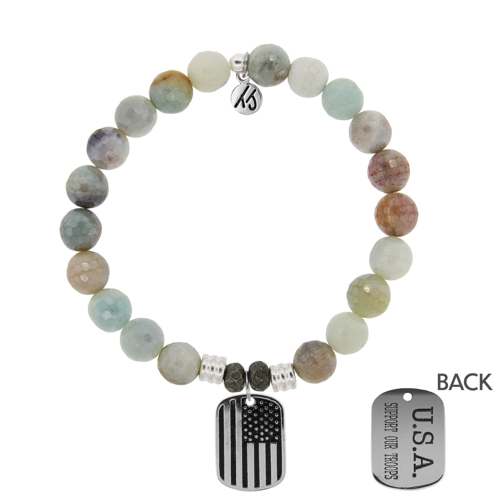 Amazonite Stone Bracelet with Support Our Troops Sterling Silver Charm