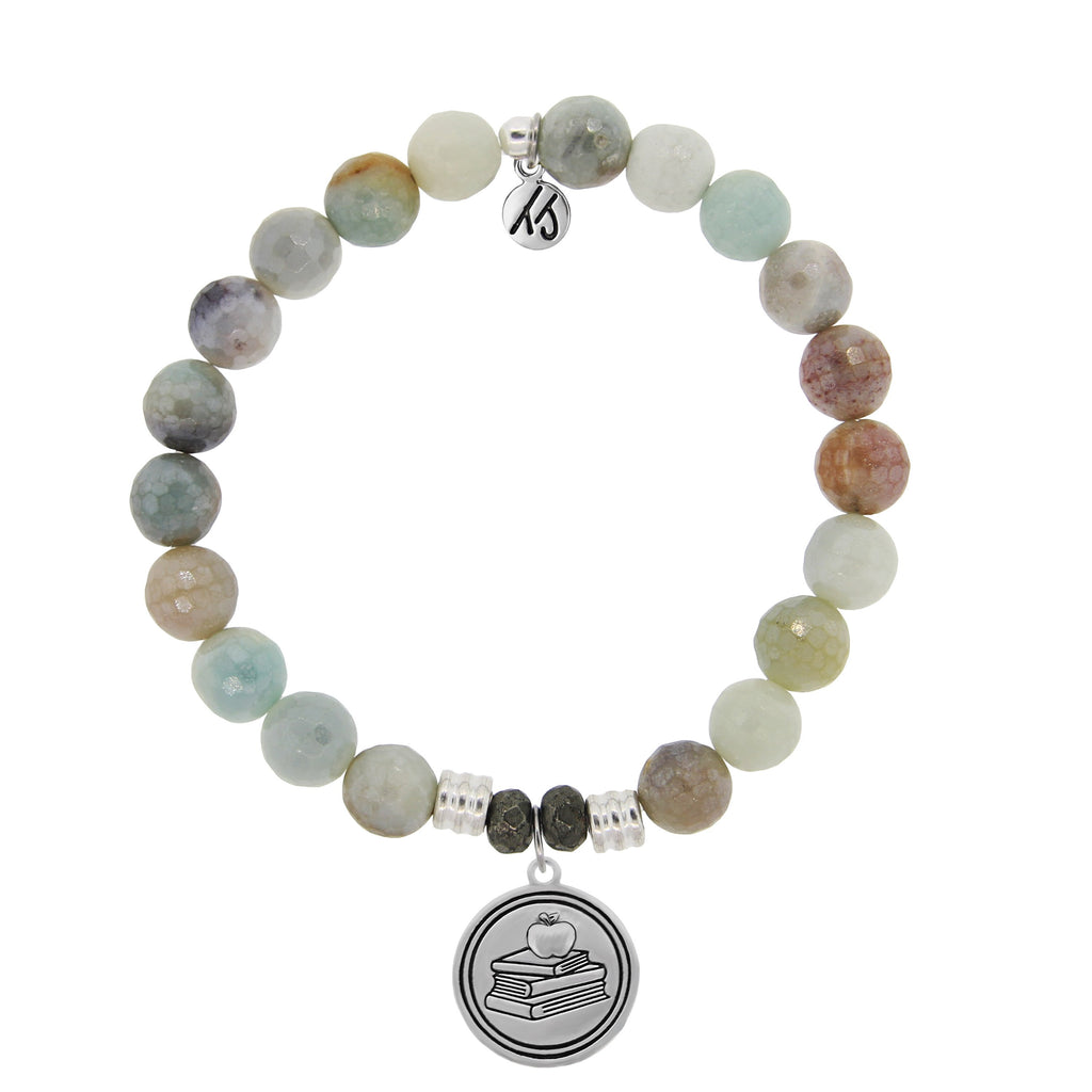 Amazonite Stone Bracelet with Teacher Sterling Silver Charm