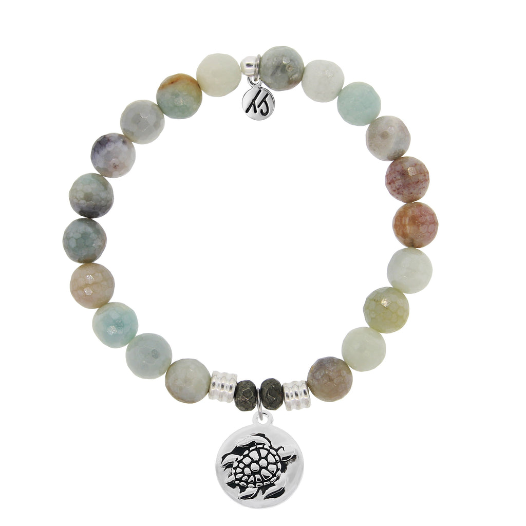 Amazonite Stone Bracelet with Turtle Sterling Silver Charm