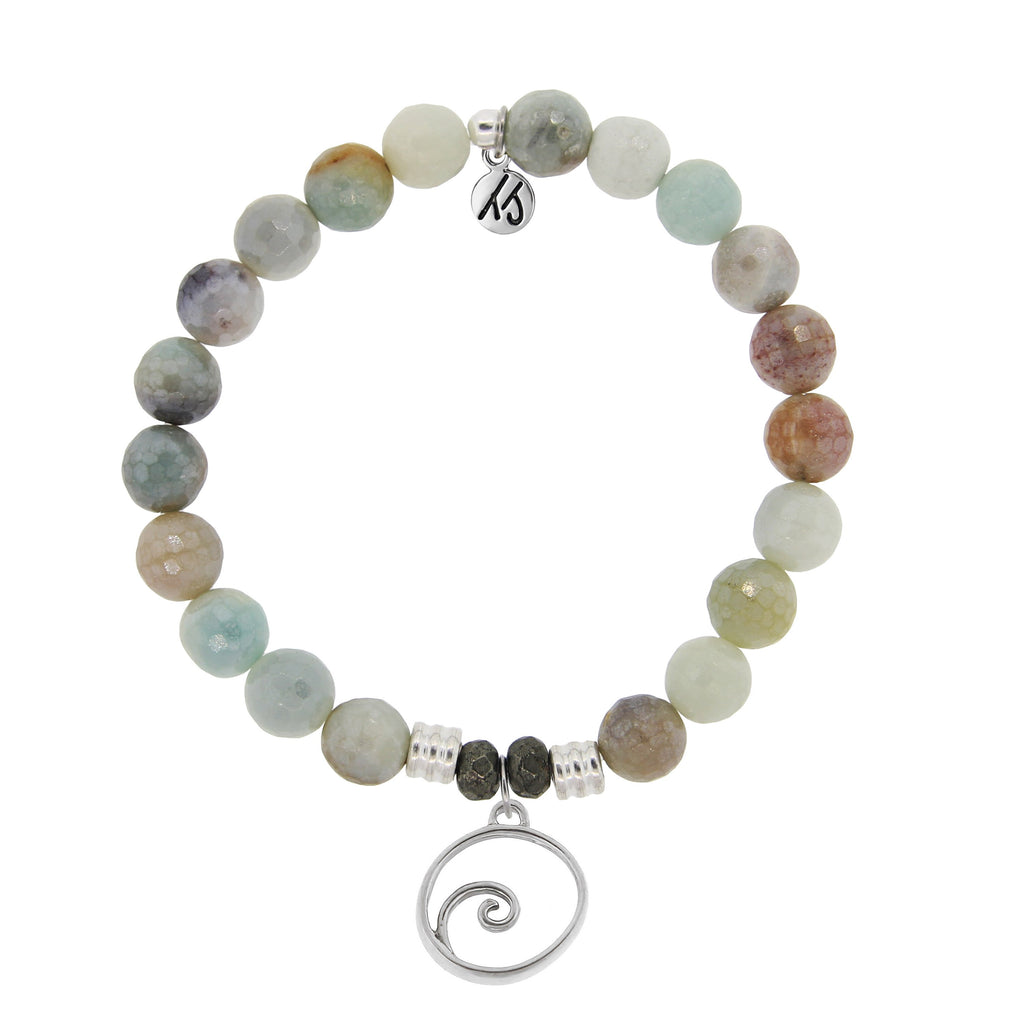 Amazonite Stone Bracelet with Wave Sterling Silver Charm