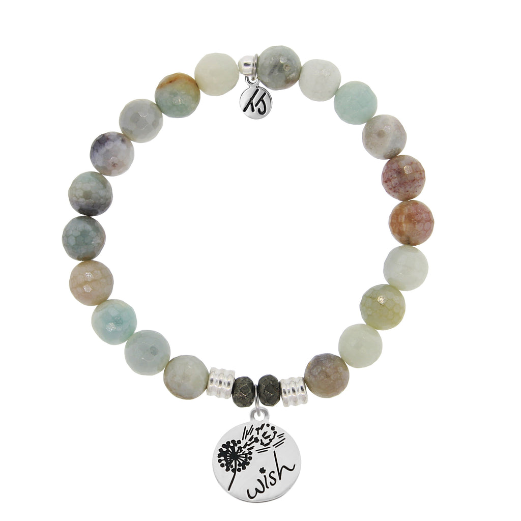 Amazonite Stone Bracelet with Wish Sterling Silver Charm