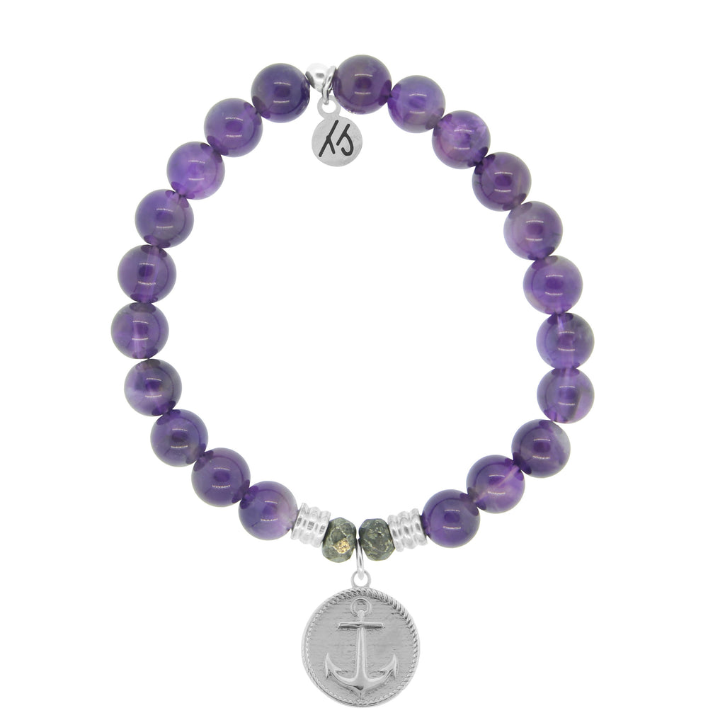 Amethyst Stone Bracelet with Anchor Sterling Silver Charm