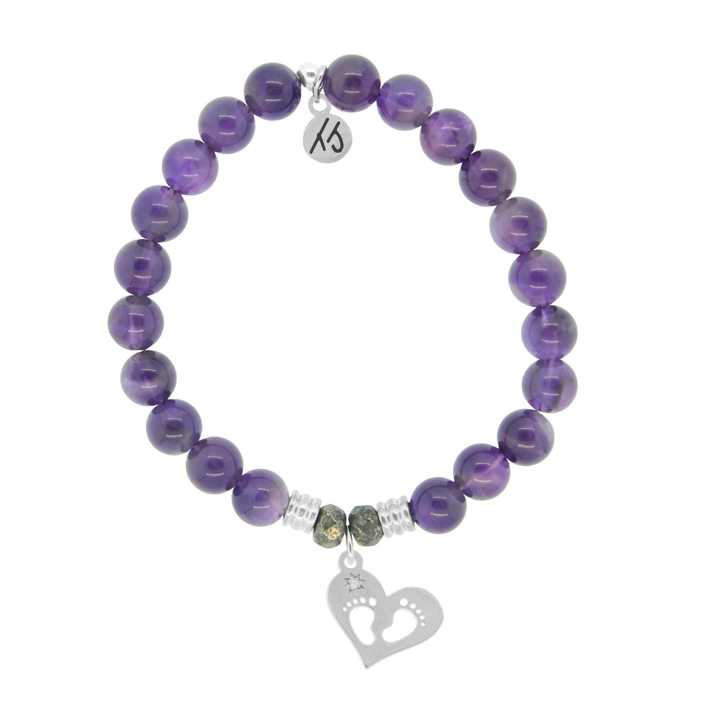 Amethyst Stone Bracelet with Baby Feet Sterling Silver Charm