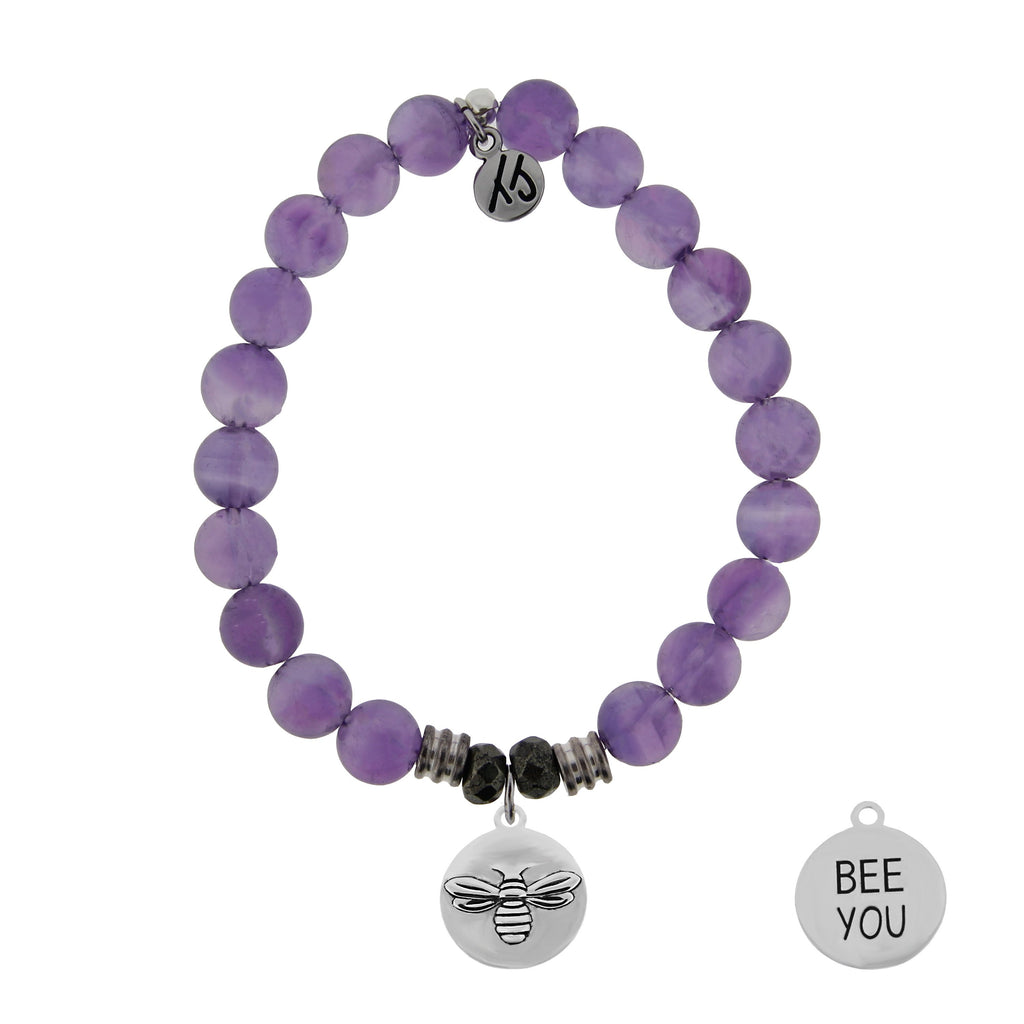 Amethyst Stone Bracelet with Bee You Sterling Silver Charm