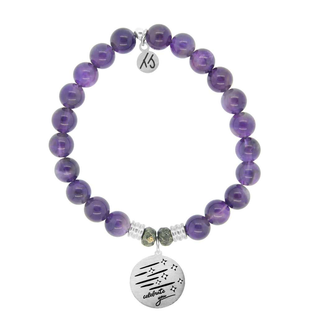 Amethyst Stone Bracelet with Birthday Wishes Sterling Silver Charm