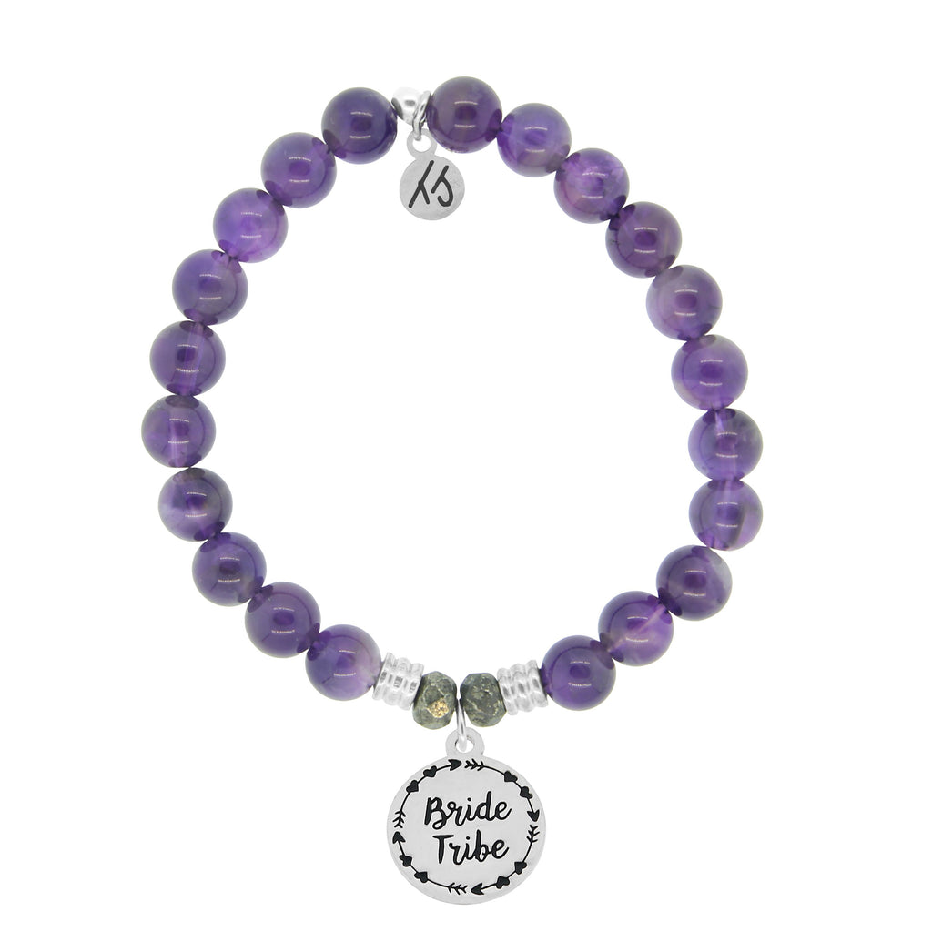 Amethyst Stone Bracelet with Bride Tribe Sterling Silver Charm