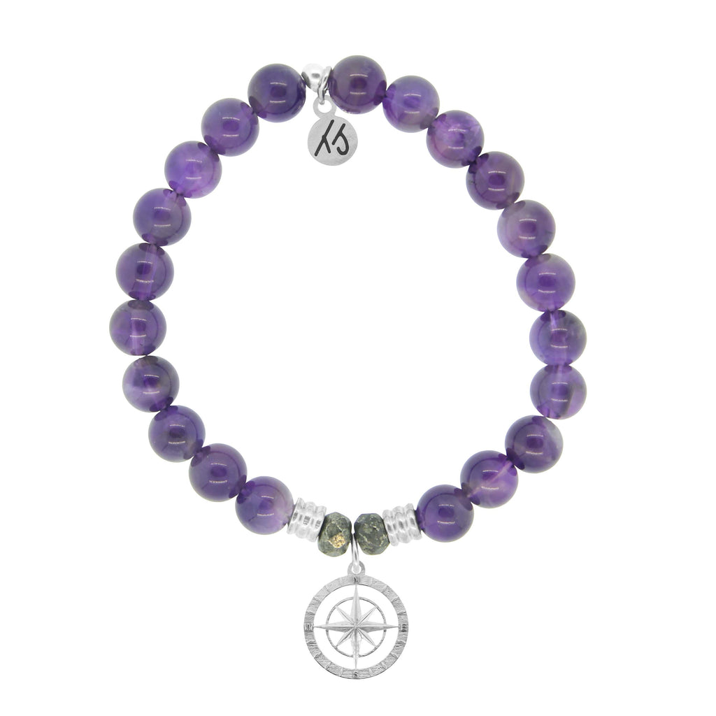 Amethyst Stone Bracelet with Compass Rose Sterling Silver Charm