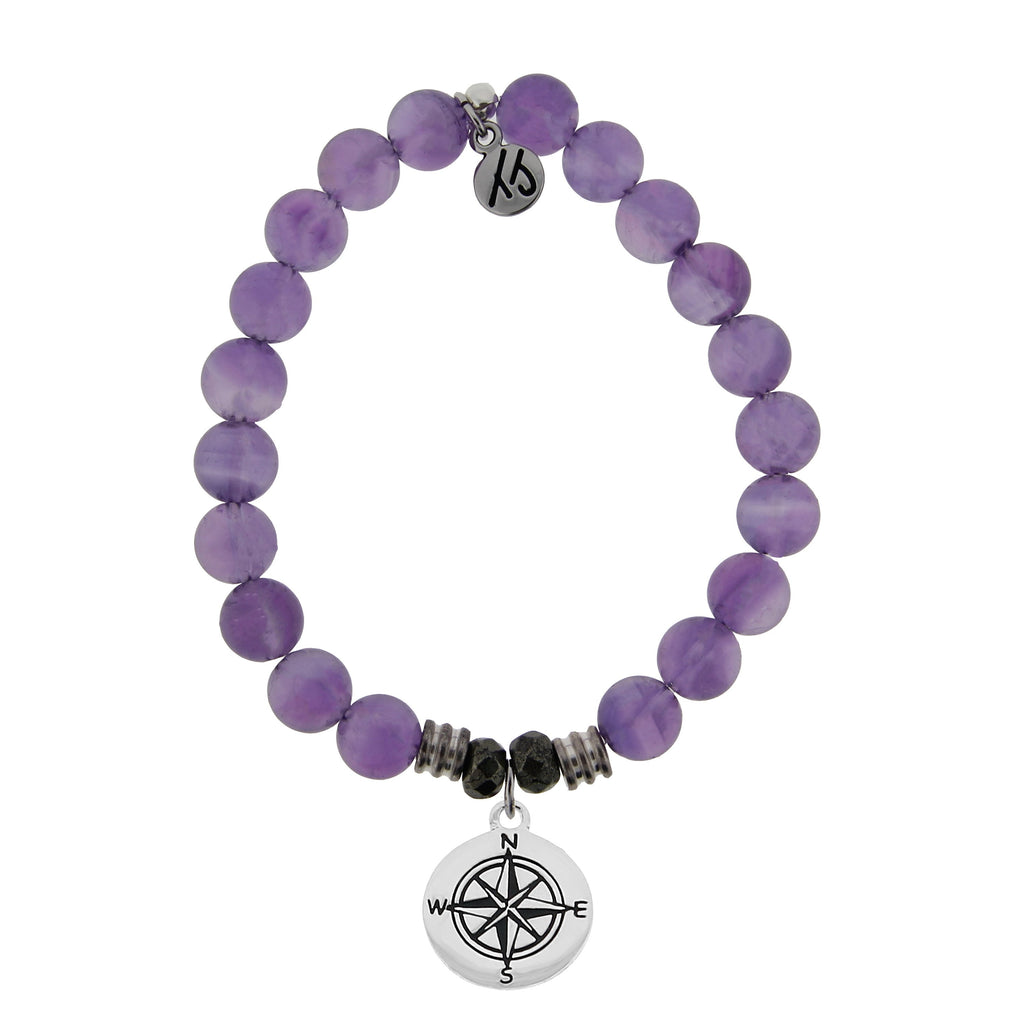 Amethyst Stone Bracelet with Compass Sterling Silver Charm
