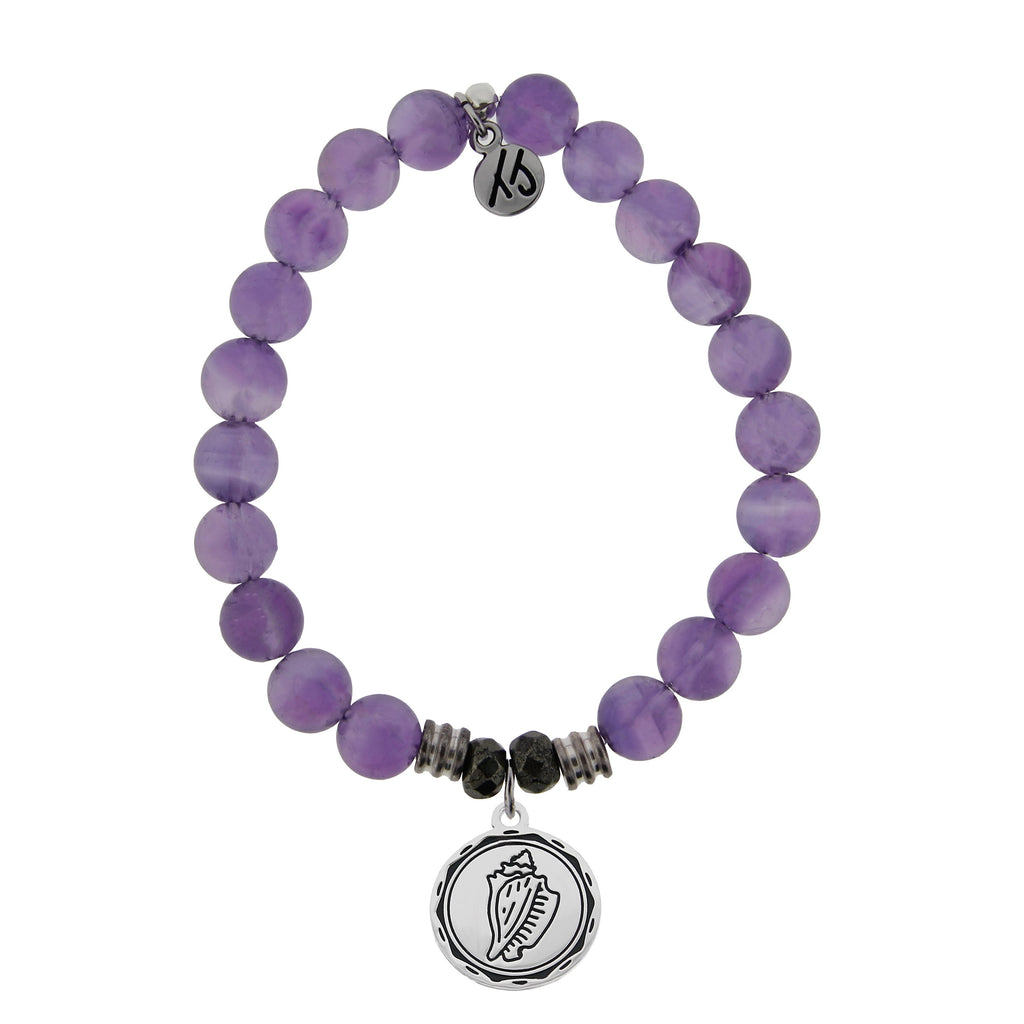 Amethyst Stone Bracelet with Conch Shell Sterling Silver Charm