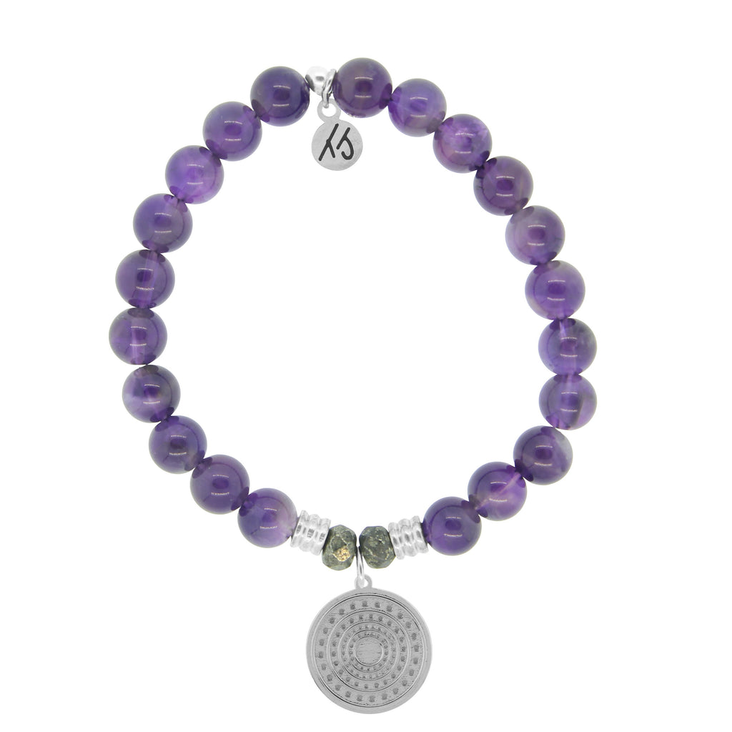 Amethyst Stone Bracelet with Family Circle Sterling Silver Charm
