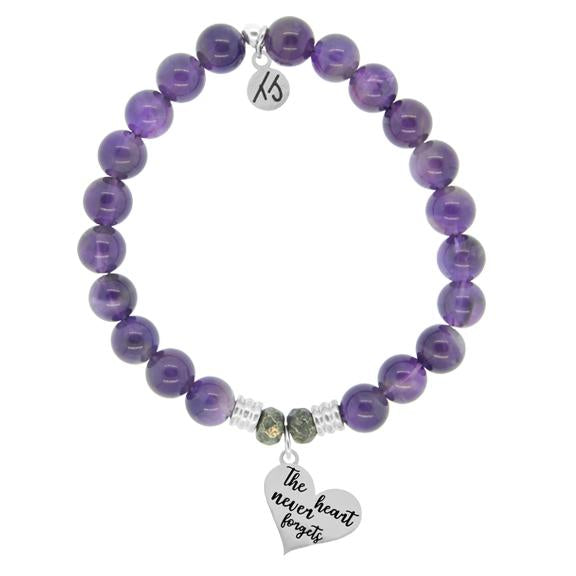 Amethyst Stone Bracelet with Heart Never Forgets Sterling Silver Charm