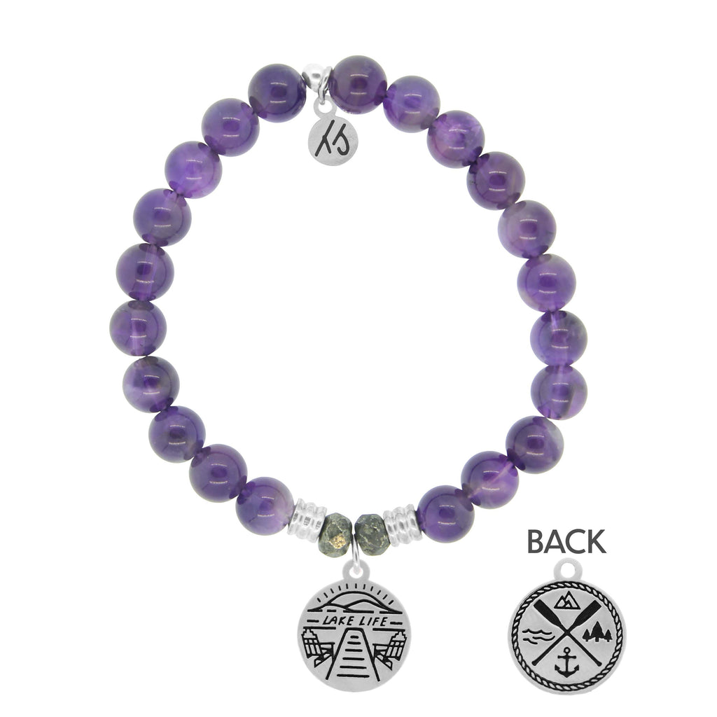Amethyst Stone Bracelet with Lake Life Sterling Silver Charm