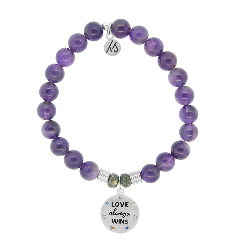 Amethyst Stone Bracelet with Love Always Wins Sterling Silver Charm