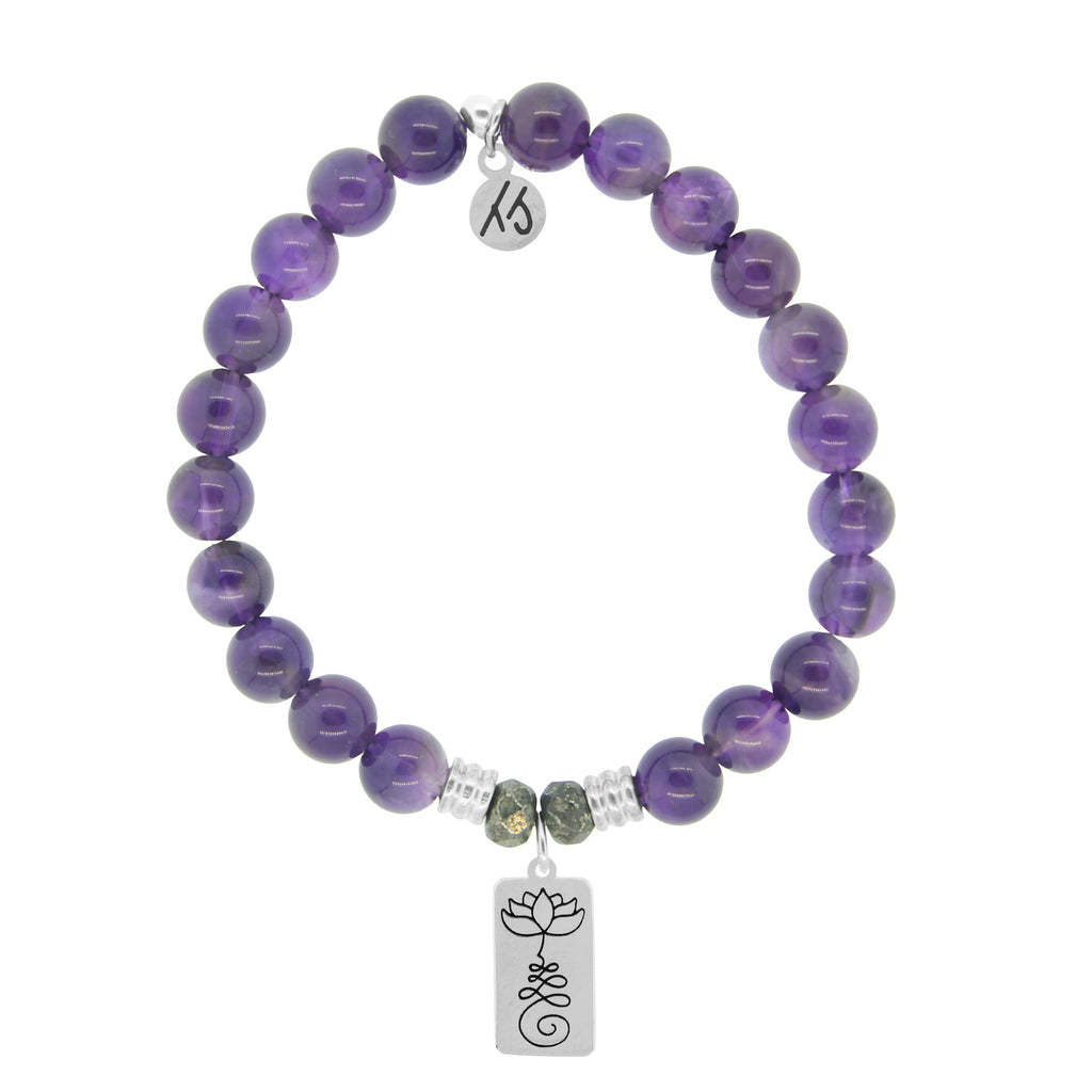 Amethyst Stone Bracelet with New Beginnings Sterling Silver Charm