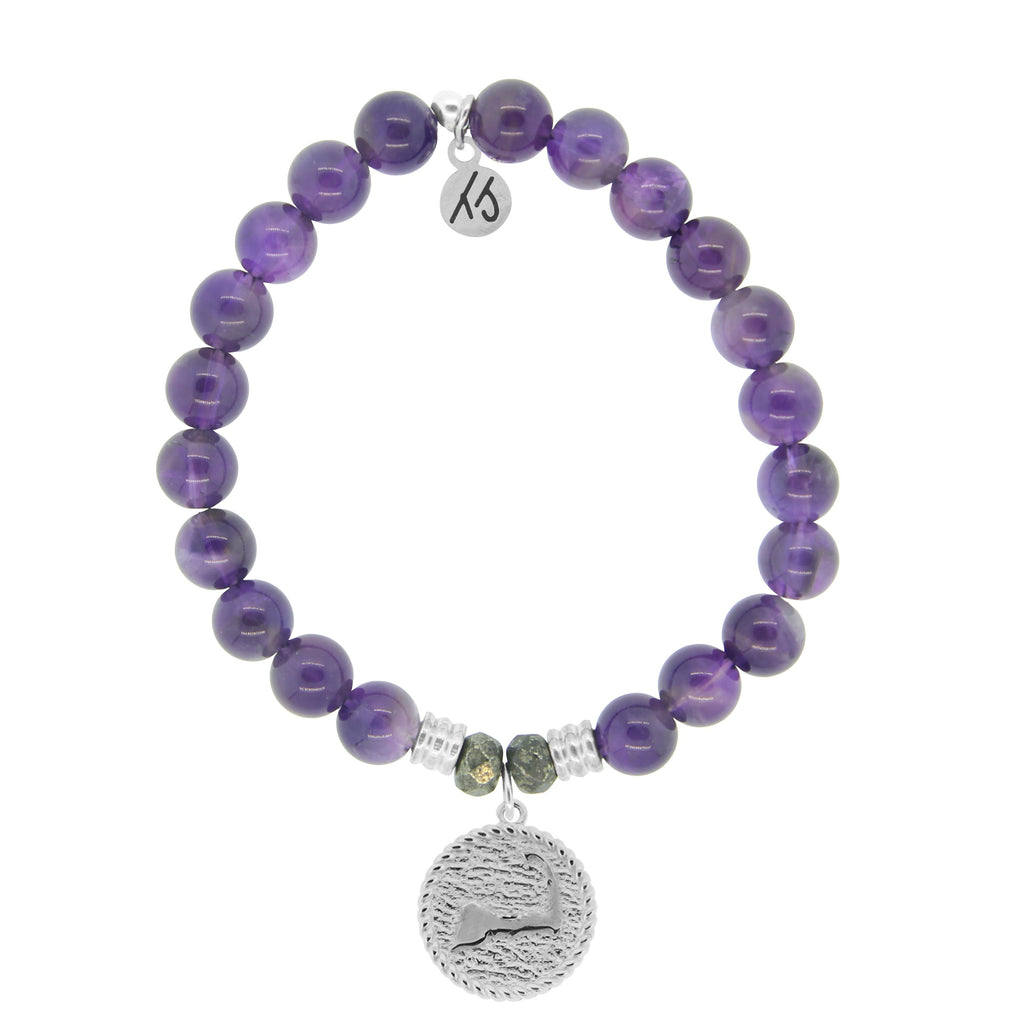 Amethyst Stone Bracelet with New Cape Cod Sterling Silver Charm