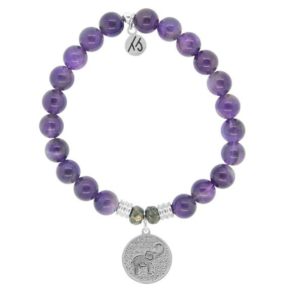 Amethyst Stone Bracelet with New Lucky Elephant Sterling Silver Charm