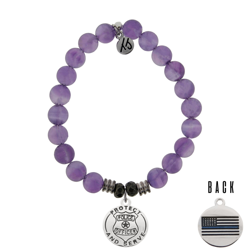 Amethyst Stone Bracelet with Police Sterling Silver Charm