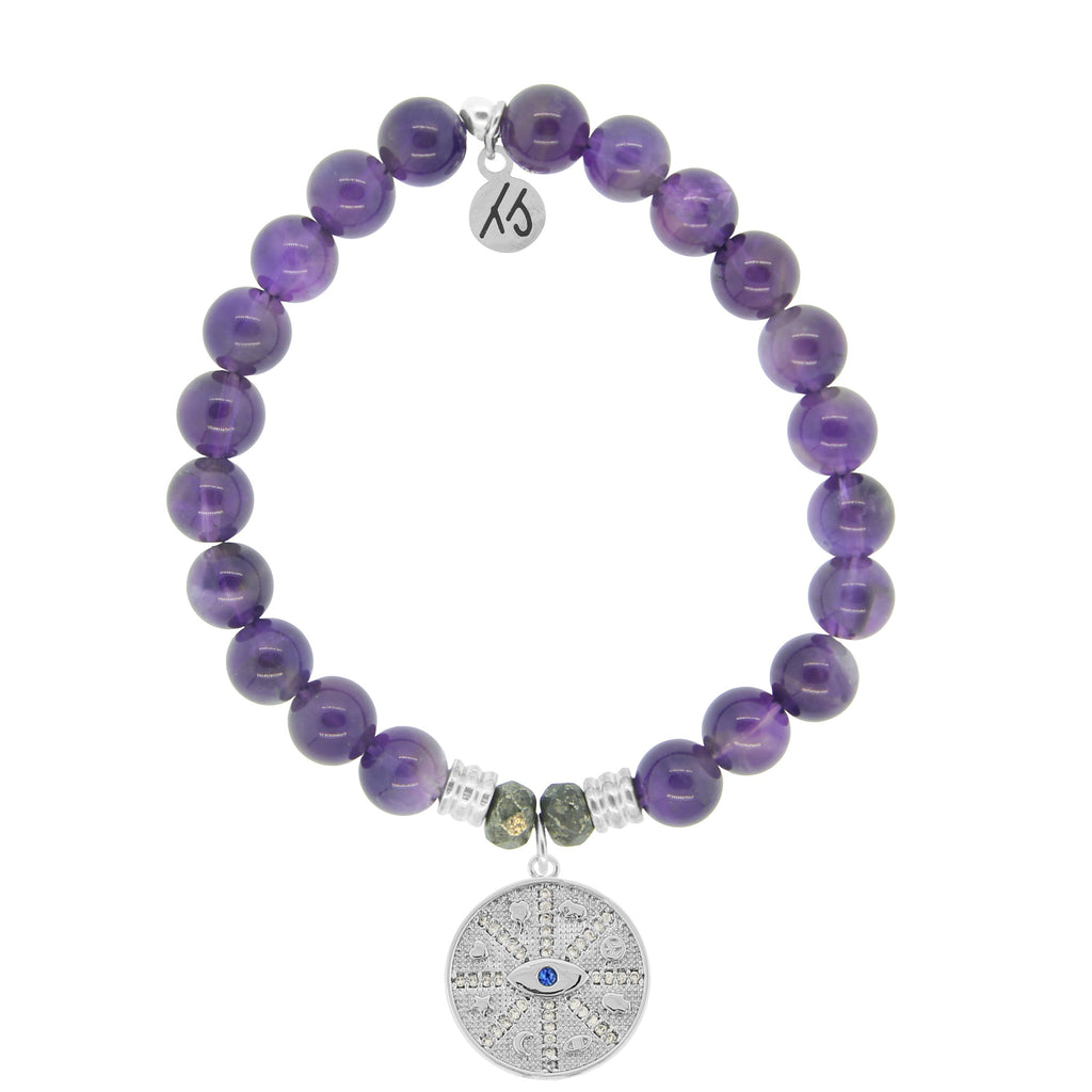 Amethyst Stone Bracelet with Protection Sterling Silver Charm