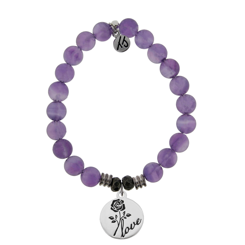 Amethyst Stone Bracelet with Rose Sterling Silver Charm