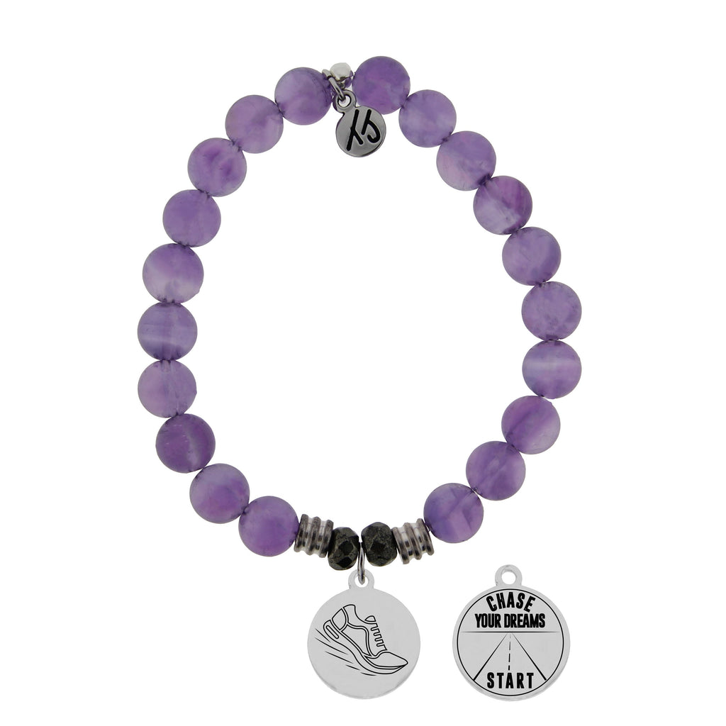 Amethyst Stone Bracelet with Run Your Own Race Sterling Silver Charm
