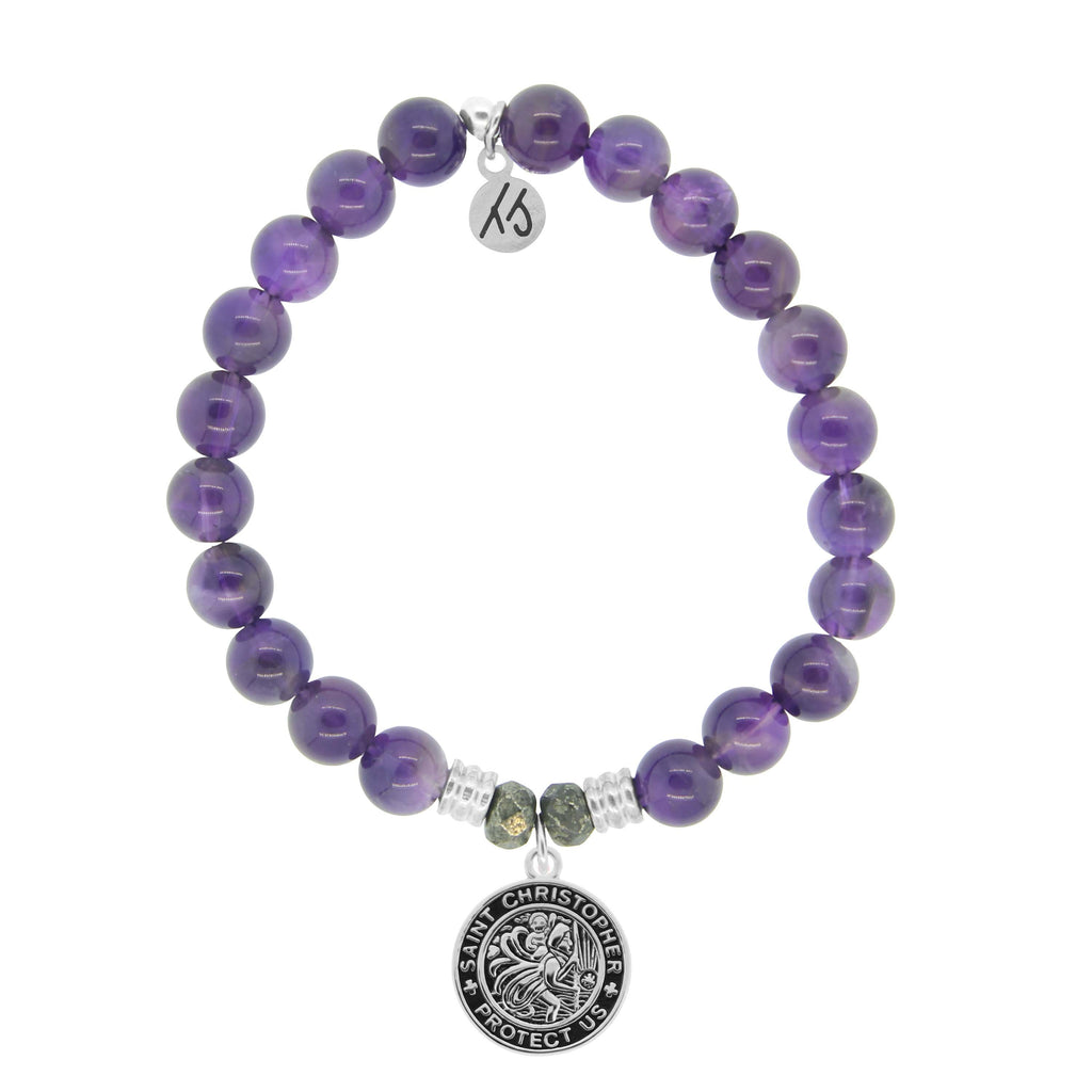 Amethyst Stone Bracelet with Saint Christopher Sterling Silver Charm