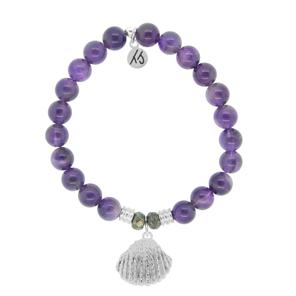Amethyst Stone Bracelet with Seashell Sterling Silver Charm
