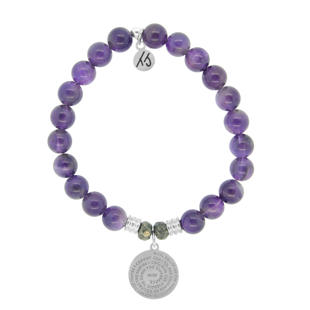 Amethyst Stone Bracelet with Serenity Prayer Sterling Silver Charm