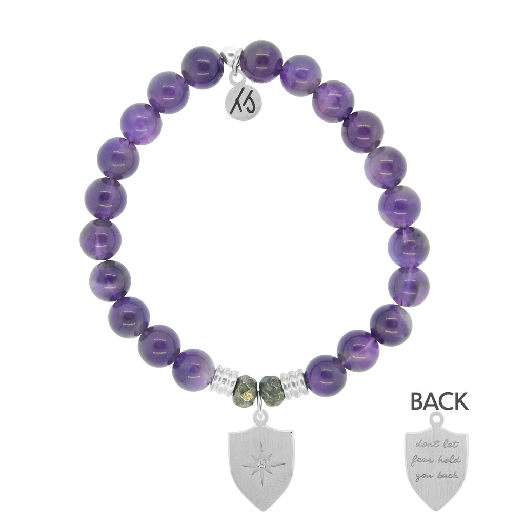 Amethyst Stone Bracelet with Shield of Strength Sterling Silver Charm