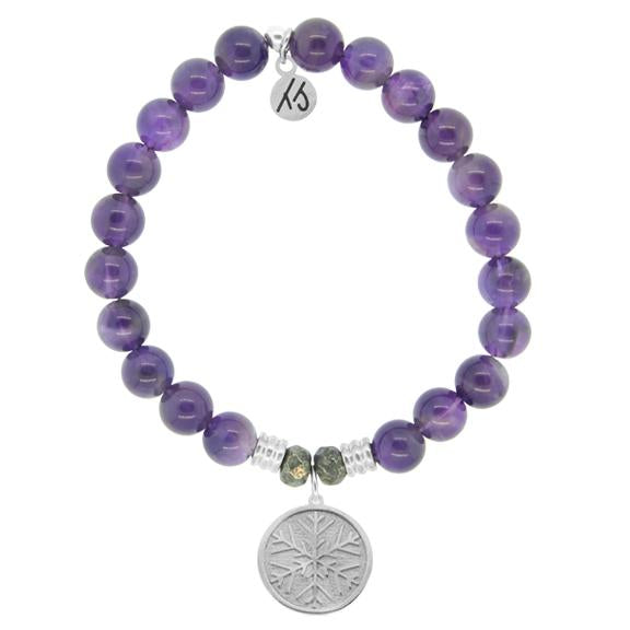 Amethyst Stone Bracelet with Snowflake Sterling Silver Charm