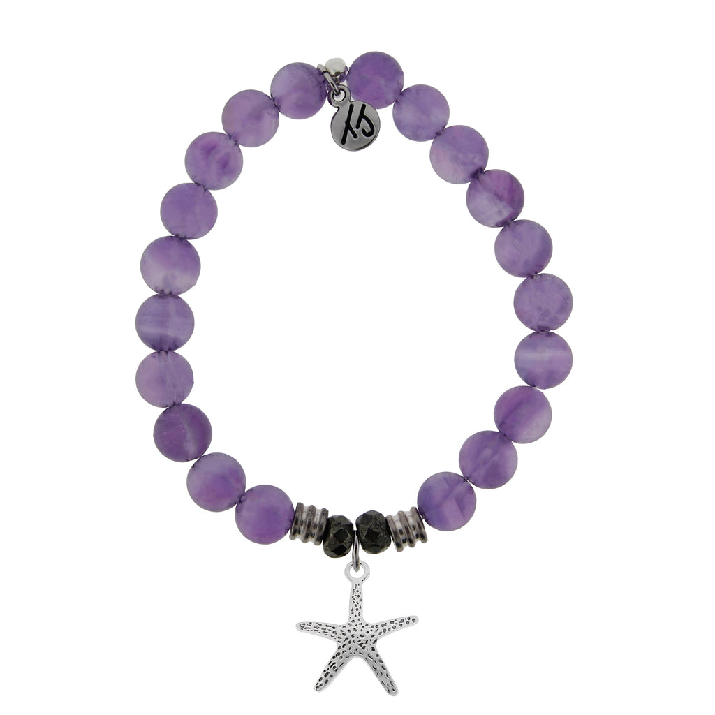 Amethyst Stone Bracelet with Starfish Sterling Silver Charm