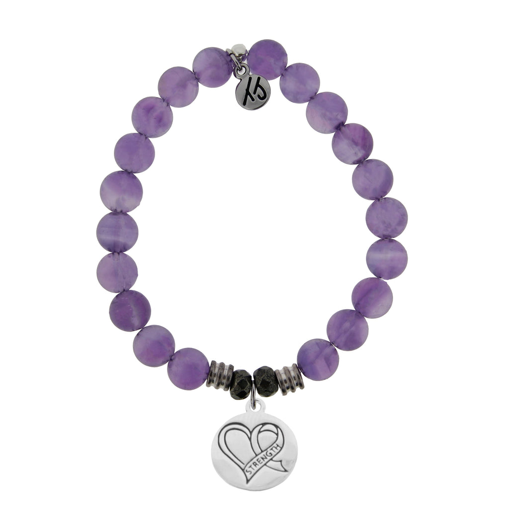Amethyst Stone Bracelet with Strength Heart Sterling Silver Charm