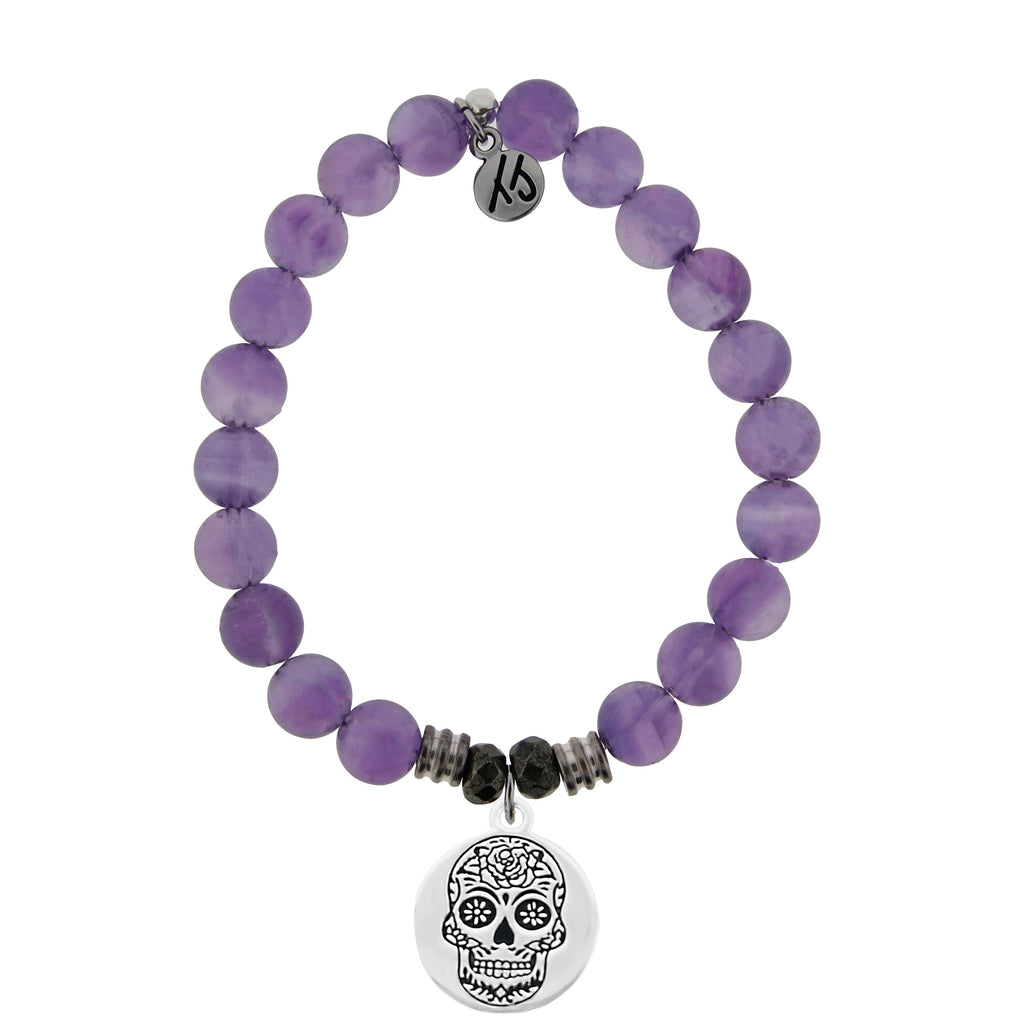 Amethyst Stone Bracelet with Sugar Skull Sterling Silver Charm