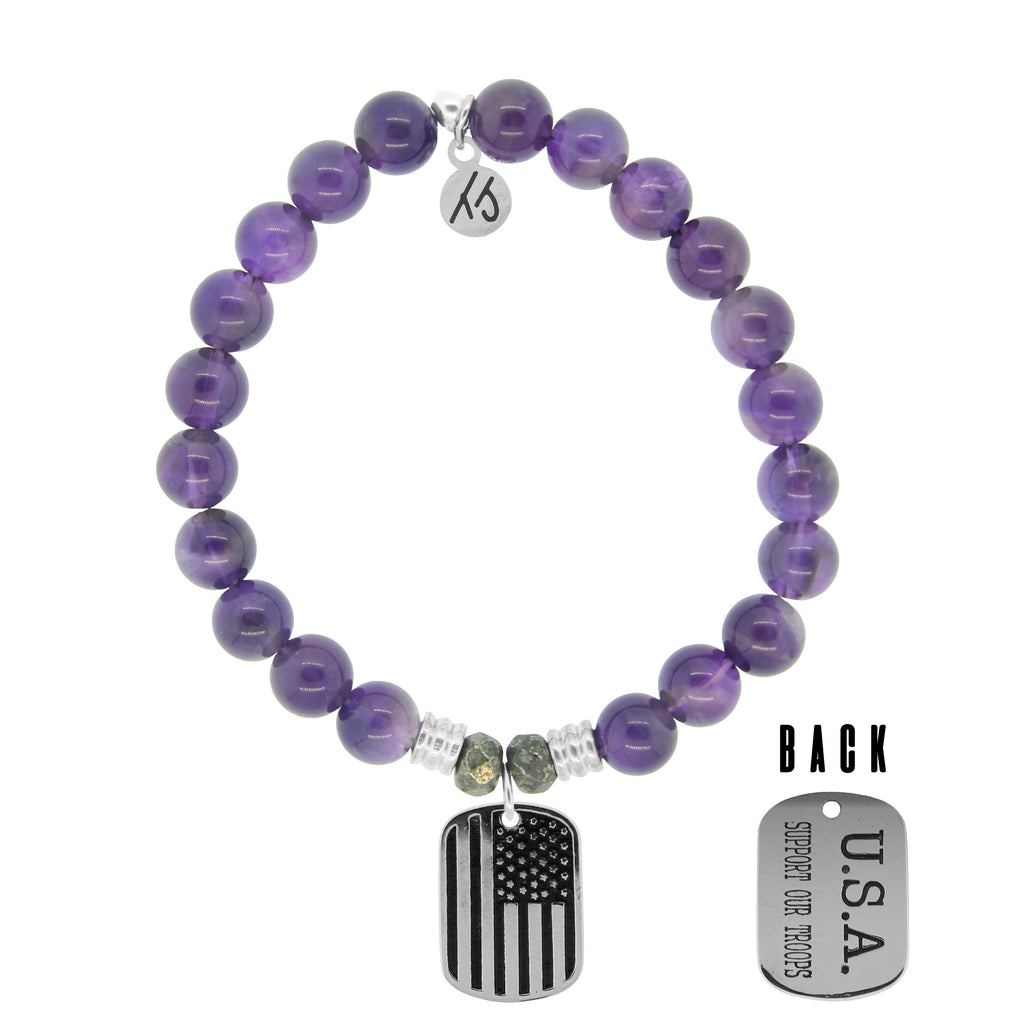 Amethyst Stone Bracelet with Support Our Troops Sterling Silver Charm