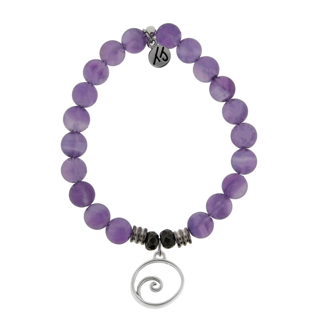 Amethyst Stone Bracelet with Wave Sterling Silver Charm