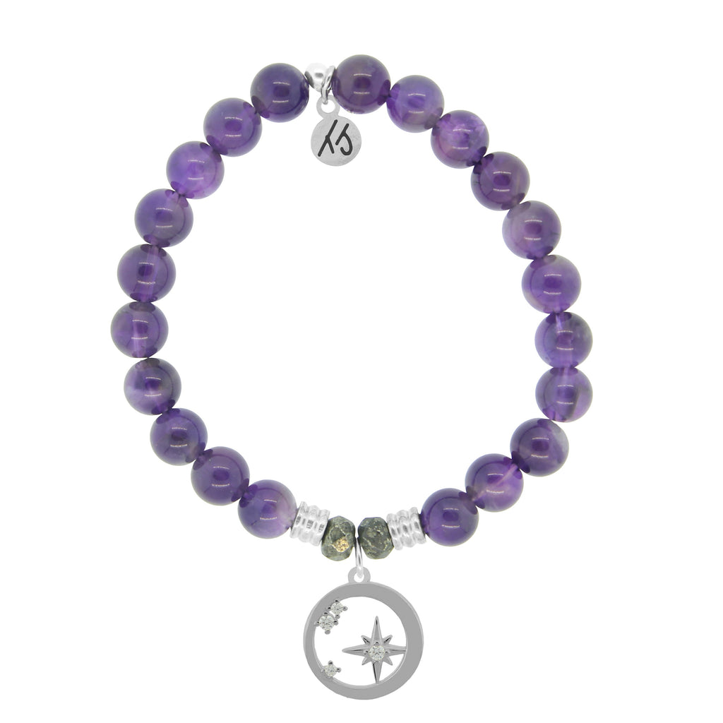 Amethyst Stone Bracelet with What is Meant to Be Sterling Silver Charm