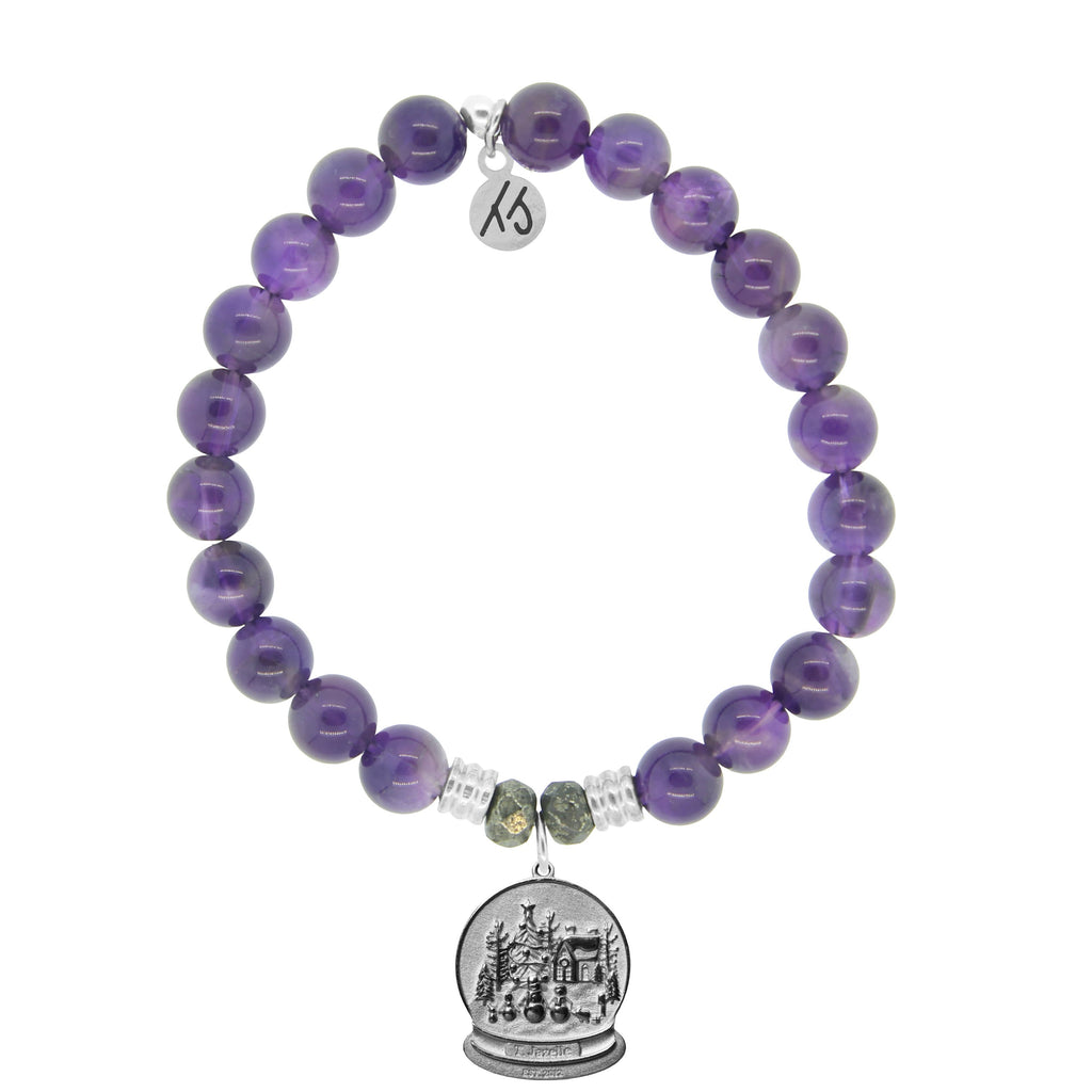 Amethyst Stone Bracelet with Winter Wonderland Sterling Silver Charm