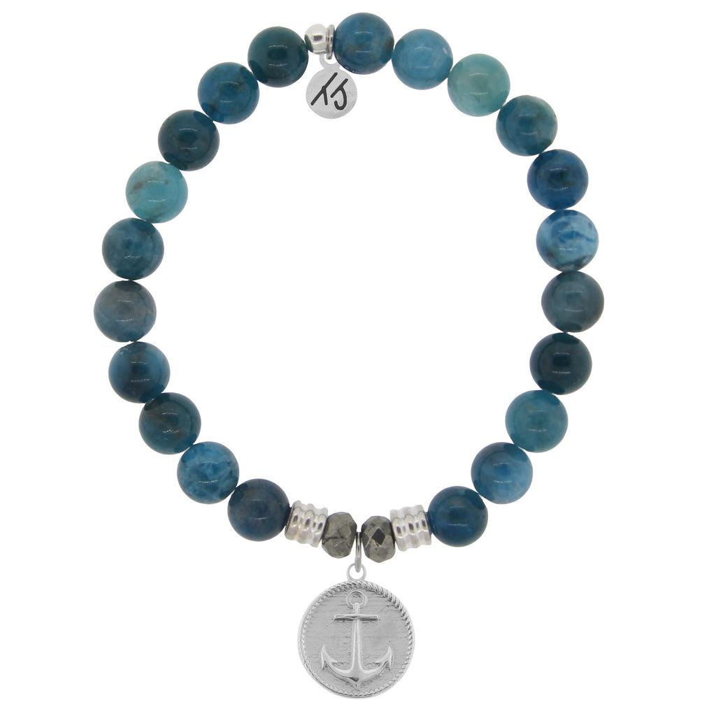 Arctic Apatite Stone Bracelet with Anchor Sterling Silver Charm