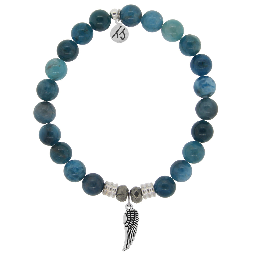 Arctic Apatite Stone Bracelet with Angel Wing Sterling Silver Charm